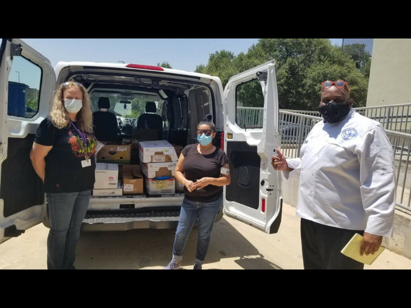 Chef Lorris picks up donated food from our friends at NW Vista College.  Thank you to Elizabeth Canivero for remembering St Vinnys Bistro feeds San Antonio's homeless.